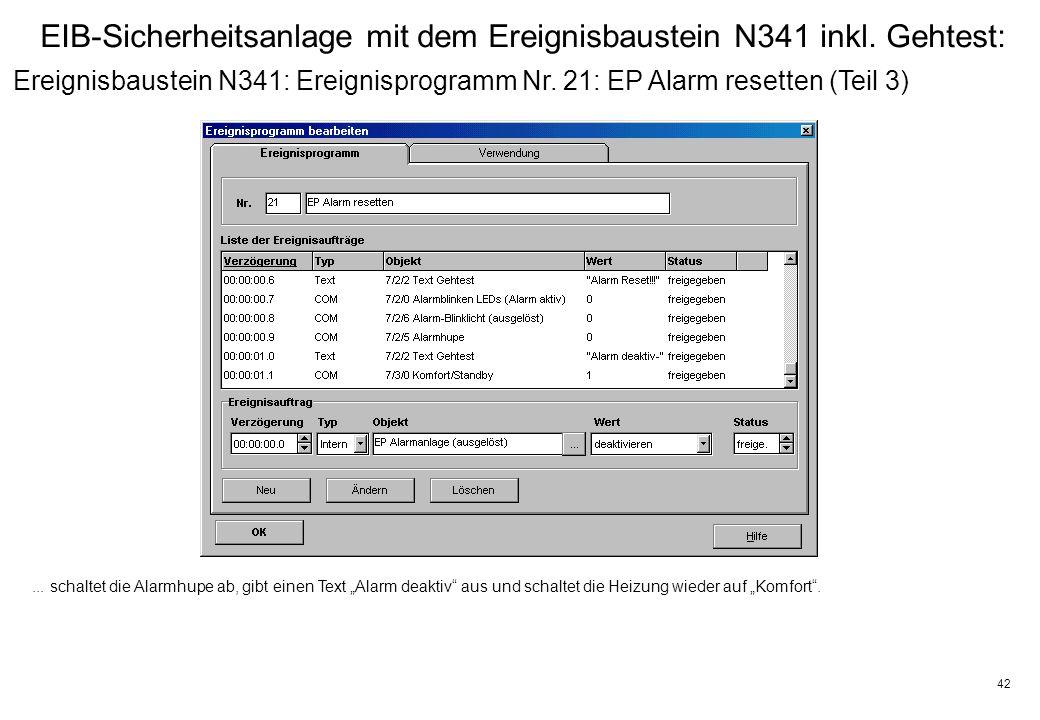 42 EIB-Sicherheitsanlage mit dem Ereignisbaustein N341 inkl.