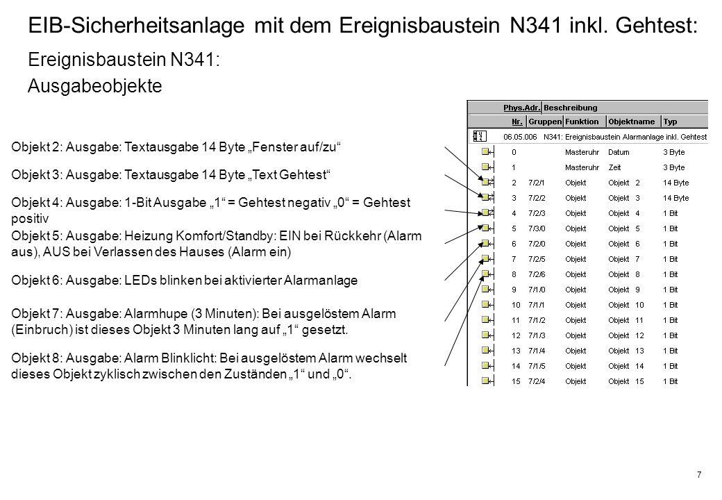 7 EIB-Sicherheitsanlage mit dem Ereignisbaustein N341 inkl.