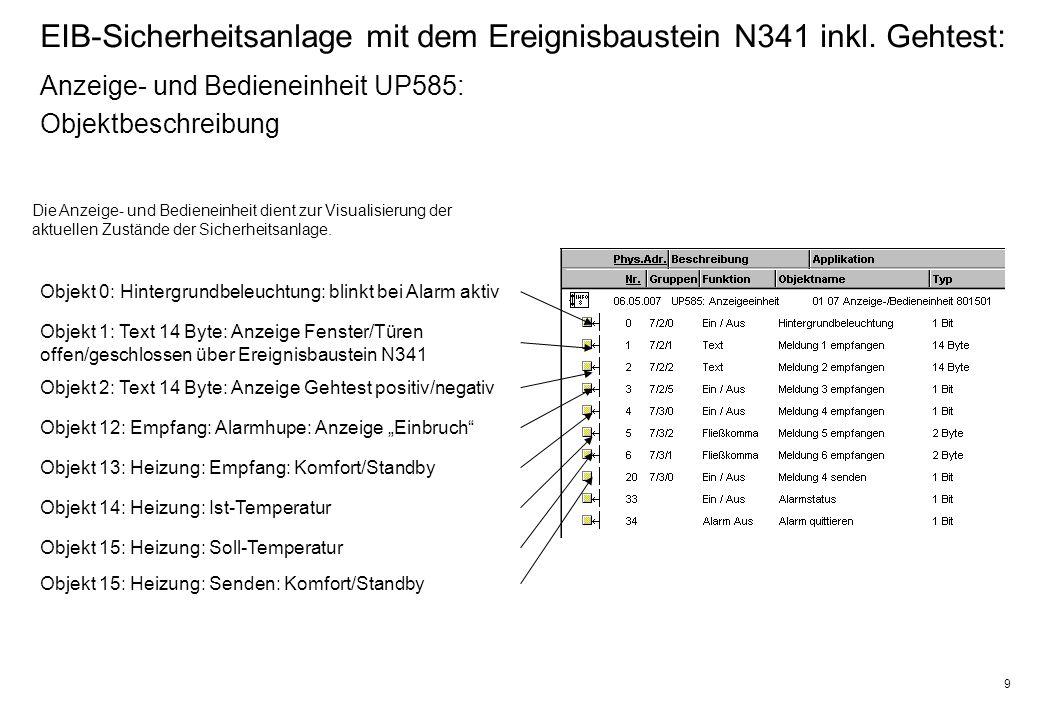 9 EIB-Sicherheitsanlage mit dem Ereignisbaustein N341 inkl.