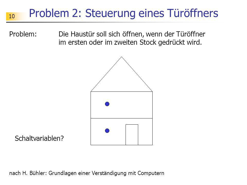 10 Problem 2: Steuerung eines Türöffners Problem: Die Haustür soll sich öffnen, wenn der Türöffner im ersten oder im zweiten Stock gedrückt wird. nach