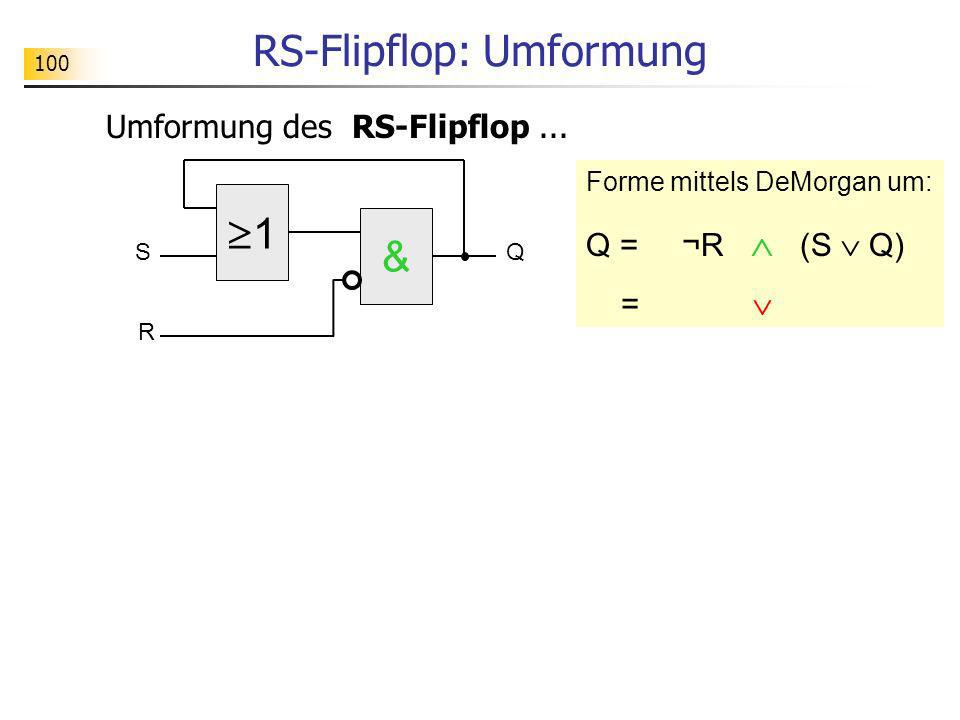 1 SQ & R RS-Flipflop: Umformung Umformung des RS-Flipflop... Forme mittels DeMorgan um: Q = ¬R (S Q) = 100