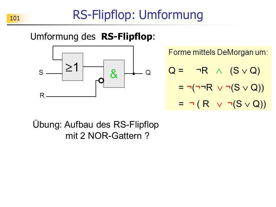 1 SQ & R RS-Flipflop: Umformung Umformung des RS-Flipflop: Forme mittels DeMorgan um: Q = ¬R (S Q) = ¬(¬¬R ¬(S Q)) = ¬ ( R ¬(S Q)) Übung: Aufbau des R