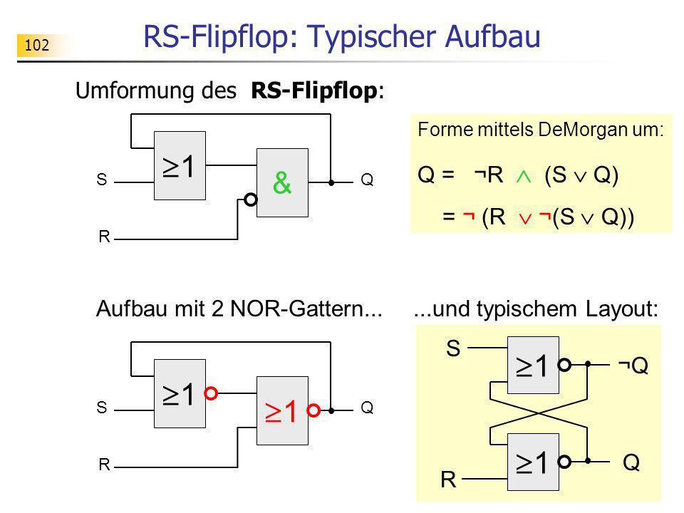 1 SQ & R RS-Flipflop: Typischer Aufbau Umformung des RS-Flipflop: Forme mittels DeMorgan um: Q = ¬R (S Q) = ¬ (R ¬(S Q)) 1 SQ 1 R Aufbau mit 2 NOR-Gat