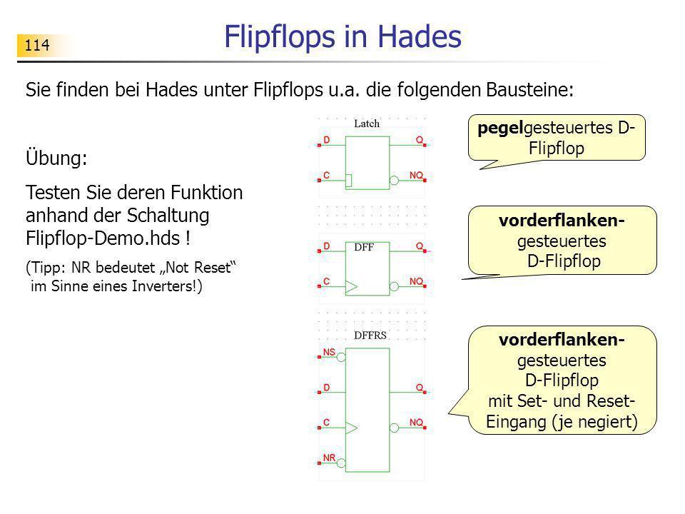 114 Flipflops in Hades Sie finden bei Hades unter Flipflops u.a. die folgenden Bausteine: Übung: Testen Sie deren Funktion anhand der Schaltung Flipfl