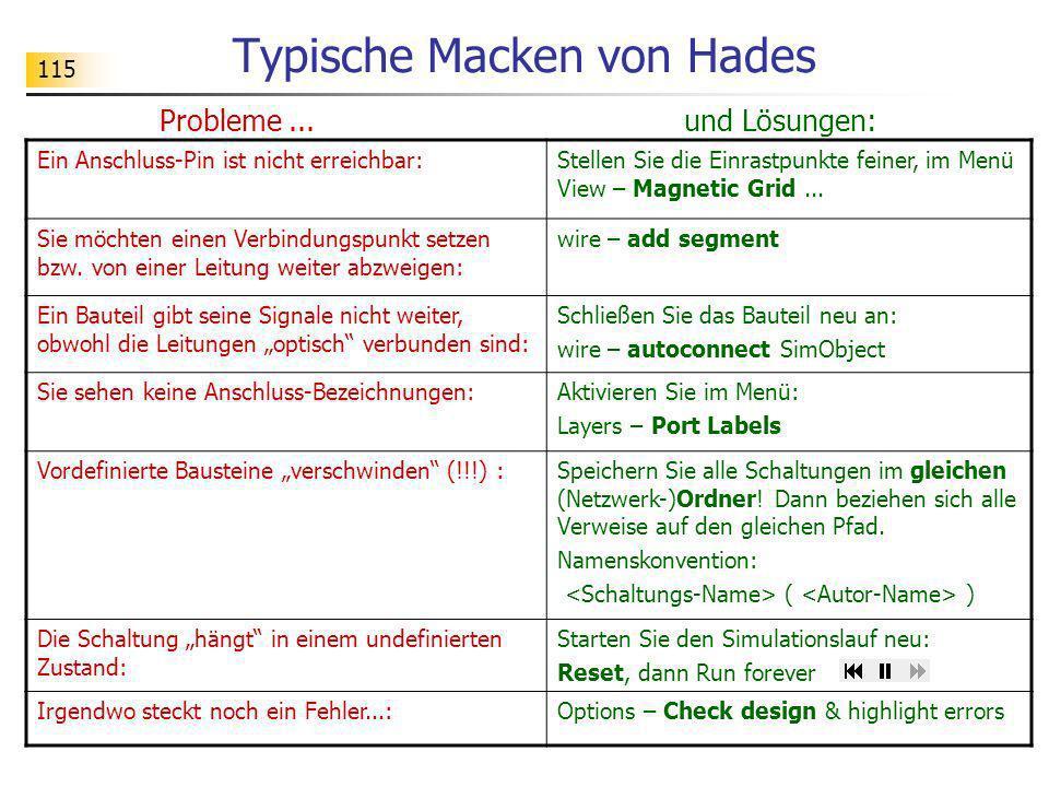115 Typische Macken von Hades Probleme... und Lösungen: Ein Anschluss-Pin ist nicht erreichbar:Stellen Sie die Einrastpunkte feiner, im Menü View – Ma