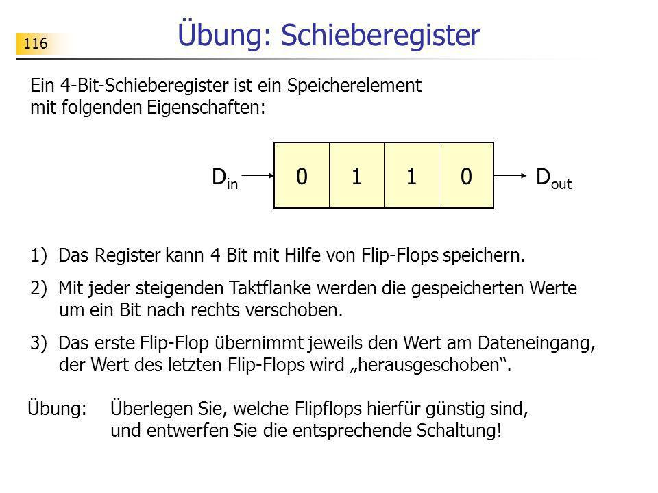 116 Übung: Schieberegister Ein 4-Bit-Schieberegister ist ein Speicherelement mit folgenden Eigenschaften: 1) Das Register kann 4 Bit mit Hilfe von Fli