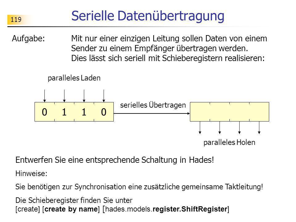 119 Serielle Datenübertragung Aufgabe:Mit nur einer einzigen Leitung sollen Daten von einem Sender zu einem Empfänger übertragen werden. Dies lässt si