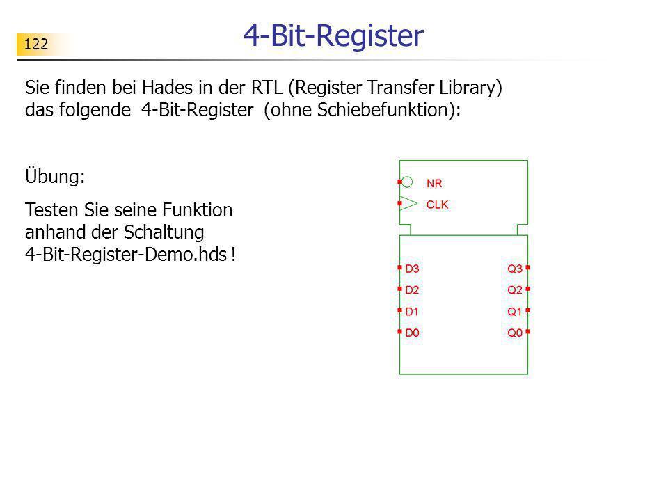 122 4-Bit-Register Sie finden bei Hades in der RTL (Register Transfer Library) das folgende 4-Bit-Register (ohne Schiebefunktion): Übung: Testen Sie s