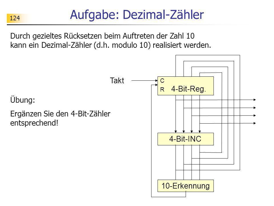 124 Aufgabe: Dezimal-Zähler Durch gezieltes Rücksetzen beim Auftreten der Zahl 10 kann ein Dezimal-Zähler (d.h. modulo 10) realisiert werden. Übung: E