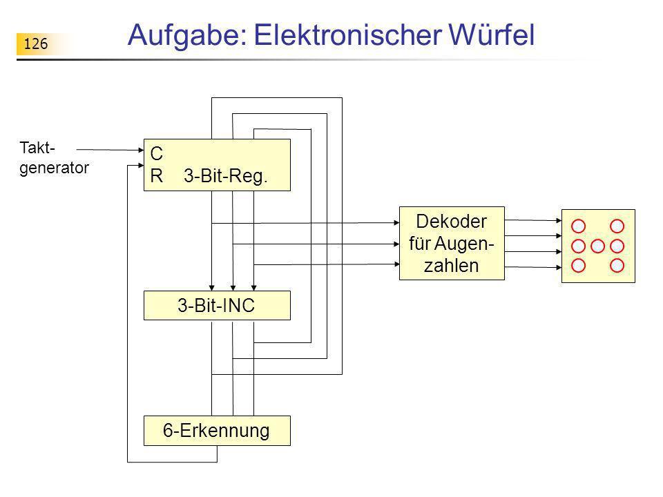 126 Aufgabe: Elektronischer Würfel 3-Bit-INC 6-Erkennung C R 3-Bit-Reg. Takt- generator Dekoder für Augen- zahlen