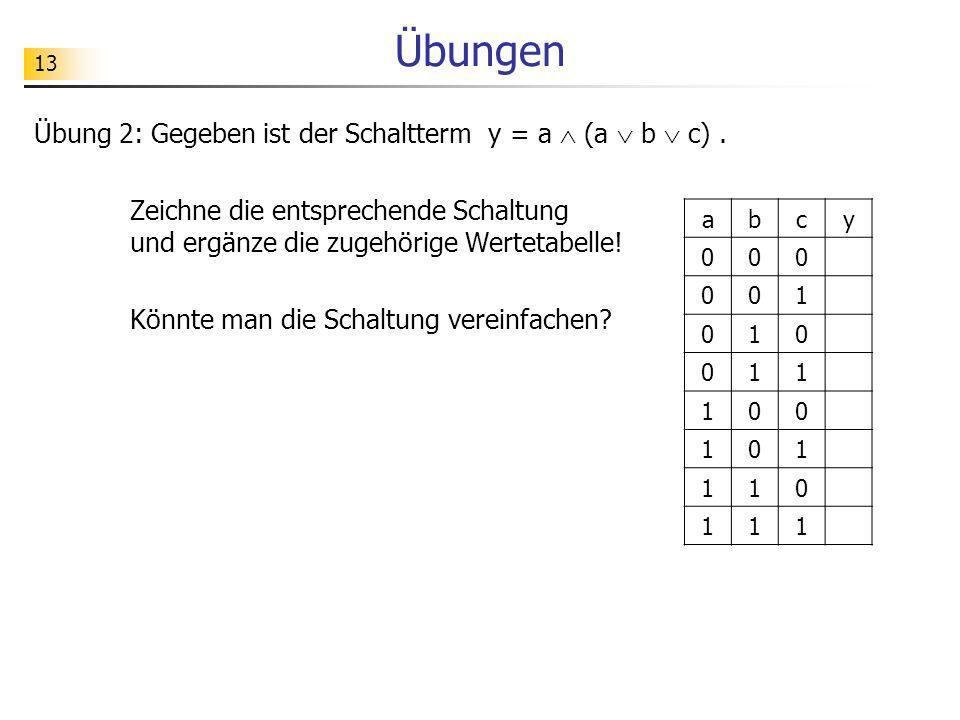 Übungen Übung 2: Gegeben ist der Schaltterm y = a (a b c). Zeichne die entsprechende Schaltung und ergänze die zugehörige Wertetabelle! Könnte man die