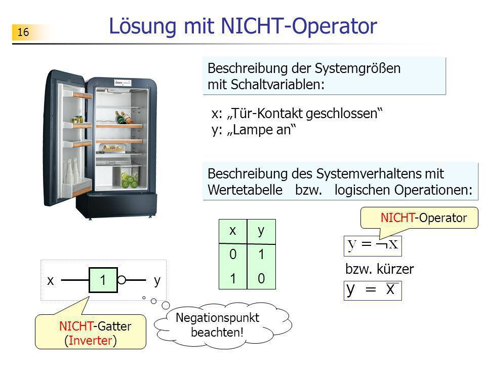 16 NICHT-Operator Lösung mit NICHT-Operator x: Tür-Kontakt geschlossen y: Lampe an x01x01 y10y10 x1y Beschreibung der Systemgrößen mit Schaltvariablen