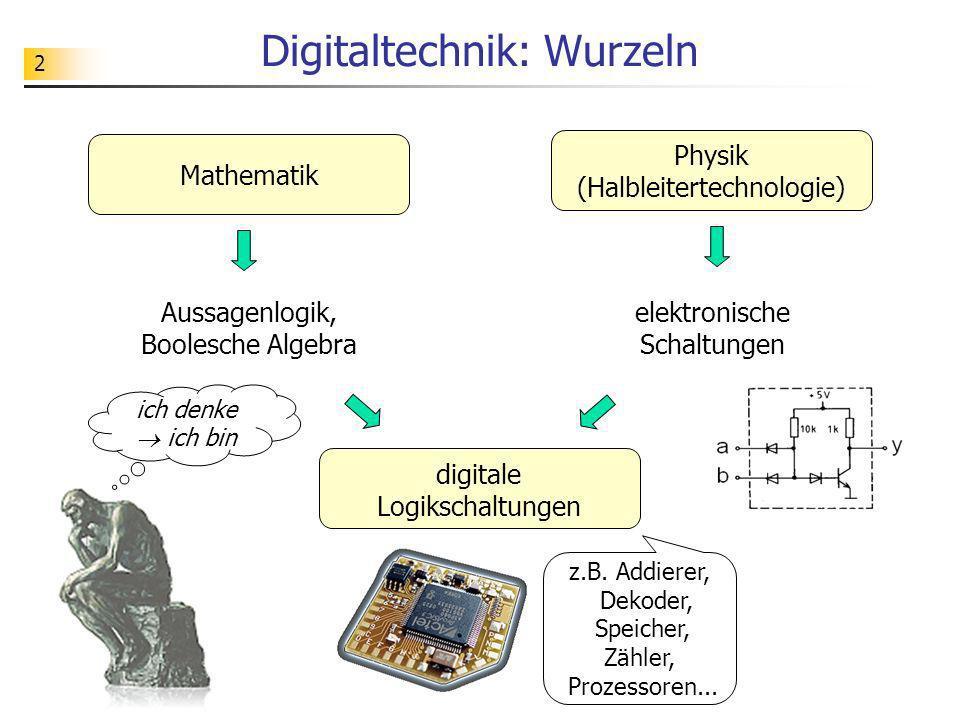 2 Digitaltechnik: Wurzeln Mathematik Physik (Halbleitertechnologie) elektronische Schaltungen Aussagenlogik, Boolesche Algebra digitale Logikschaltung