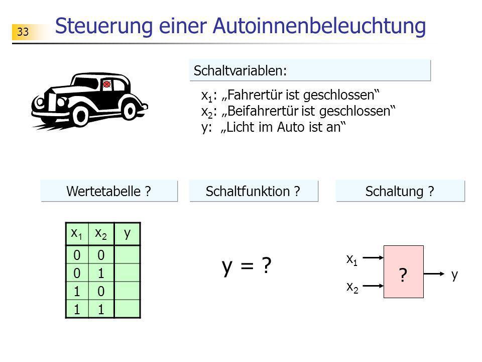 33 Steuerung einer Autoinnenbeleuchtung x 1 : Fahrertür ist geschlossen x 2 : Beifahrertür ist geschlossen y: Licht im Auto ist an ? x1x1 x2x2 y x1x1