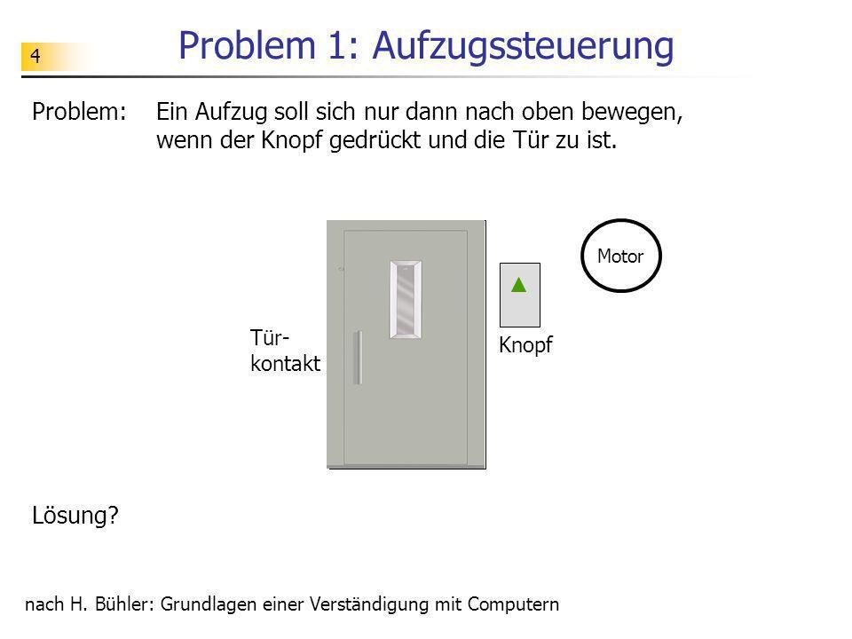 4 Problem 1: Aufzugssteuerung Problem: Ein Aufzug soll sich nur dann nach oben bewegen, wenn der Knopf gedrückt und die Tür zu ist. nach H. Bühler: Gr