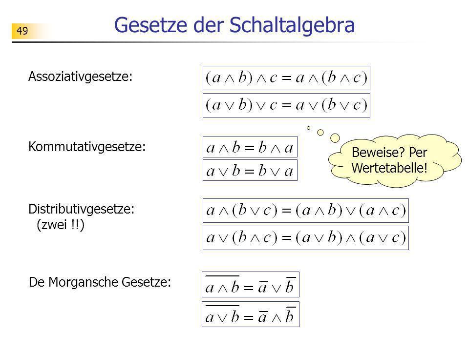 49 Gesetze der Schaltalgebra Assoziativgesetze: Kommutativgesetze: Distributivgesetze: (zwei !!) De Morgansche Gesetze: Beweise? Per Wertetabelle!