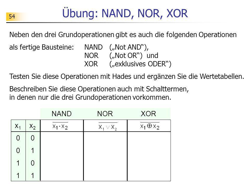 54 Übung: NAND, NOR, XOR Neben den drei Grundoperationen gibt es auch die folgenden Operationen als fertige Bausteine: NAND (Not AND), NOR (Not OR) un