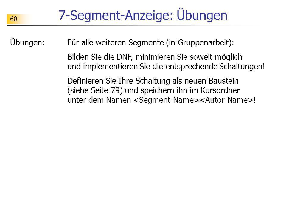 7-Segment-Anzeige: Übungen 60 Übungen:Für alle weiteren Segmente (in Gruppenarbeit): Bilden Sie die DNF, minimieren Sie soweit möglich und implementie