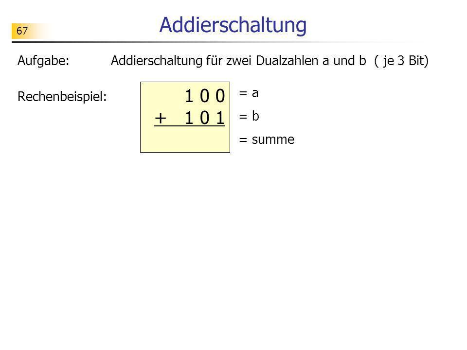 67 Addierschaltung Aufgabe:Addierschaltung für zwei Dualzahlen a und b ( je 3 Bit) Rechenbeispiel: 1 0 0 + 1 0 1 = a = b = summe