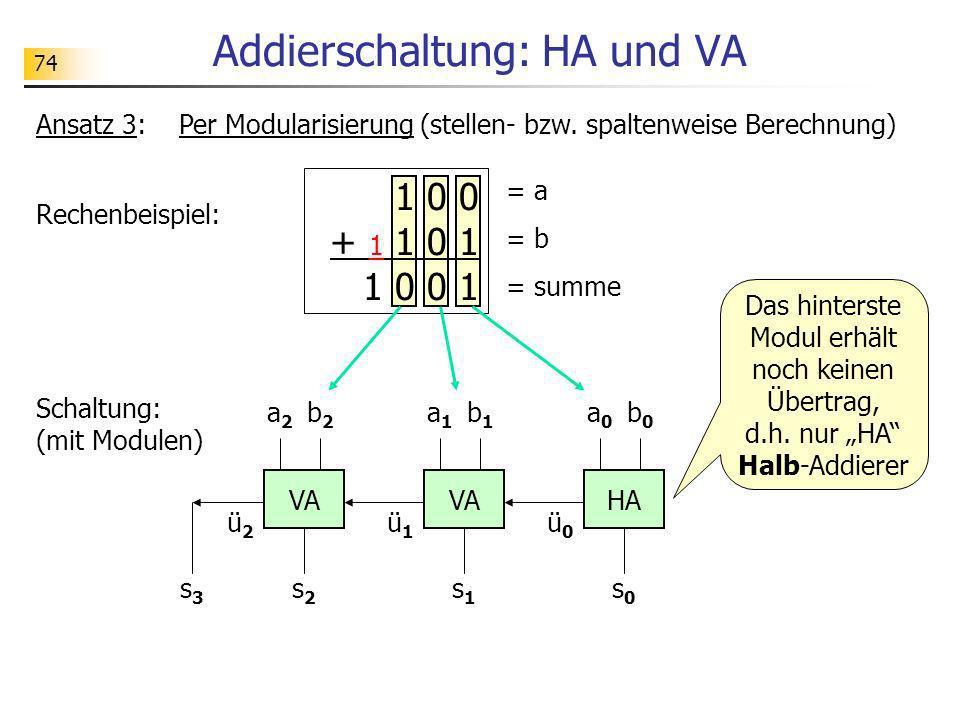 74 Addierschaltung: HA und VA Ansatz 3: Per Modularisierung (stellen- bzw. spaltenweise Berechnung) Rechenbeispiel: Schaltung: (mit Modulen) 1 0 0 + 1