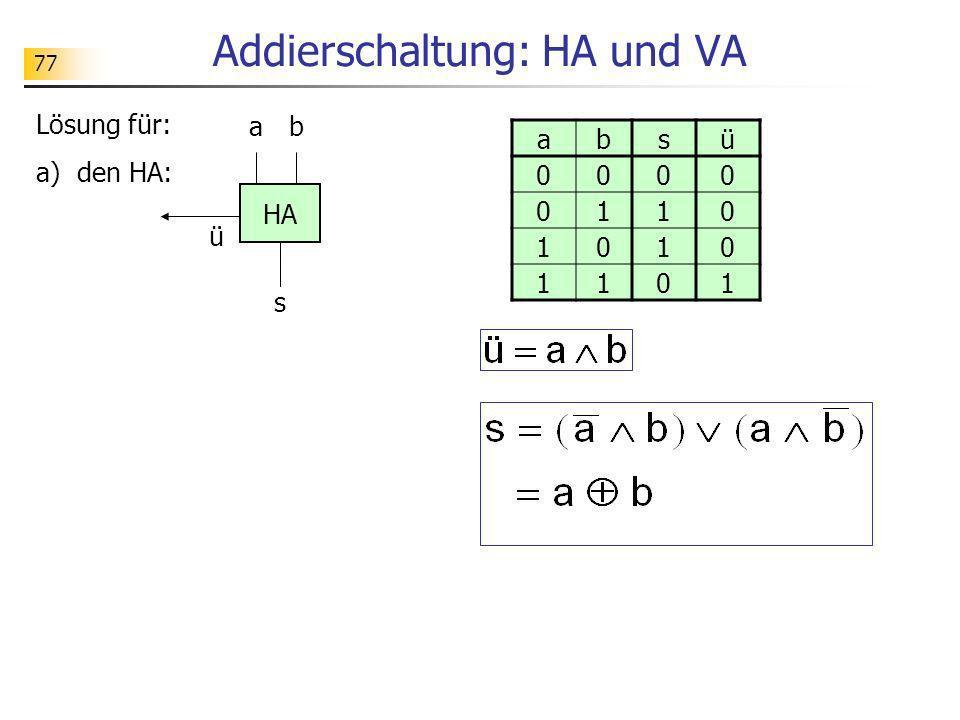 77 Addierschaltung: HA und VA Lösung für: a) den HA: ba s HA ü absü 0000 0110 1010 1101