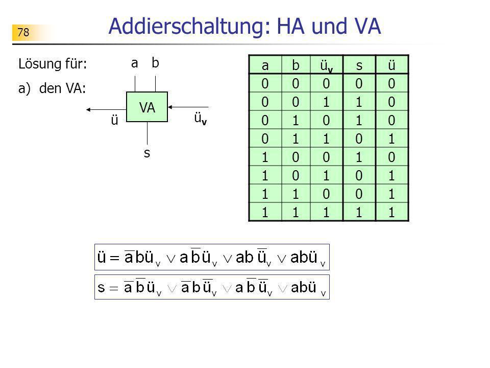 78 Addierschaltung: HA und VA Lösung für: a) den VA: ba s VA ü üvüv abüvüv sü 00000 00110 01010 01101 10010 10101 11001 11111