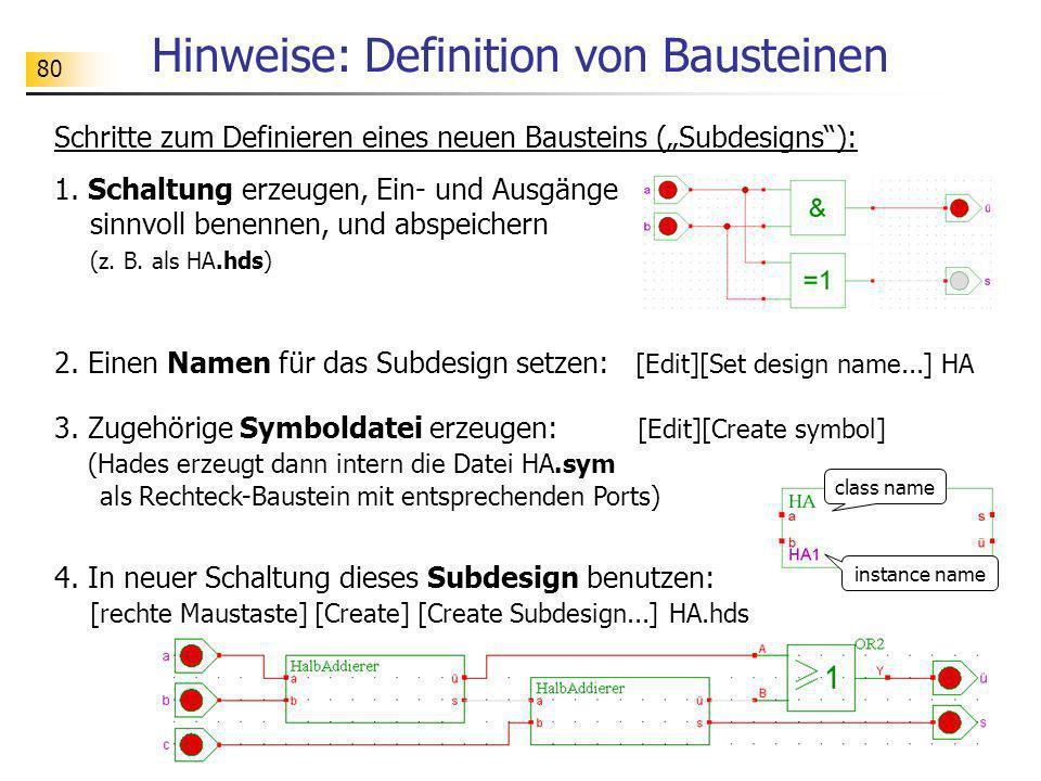 80 Hinweise: Definition von Bausteinen Schritte zum Definieren eines neuen Bausteins (Subdesigns): 1. Schaltung erzeugen, Ein- und Ausgänge sinnvoll b