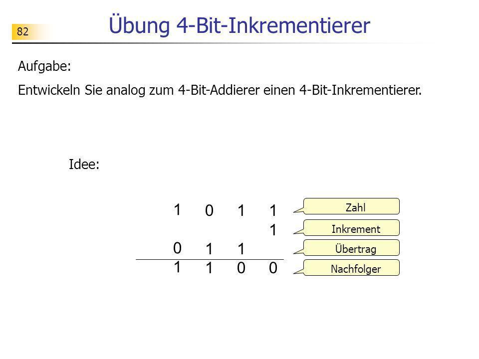 82 Übung 4-Bit-Inkrementierer Aufgabe: Entwickeln Sie analog zum 4-Bit-Addierer einen 4-Bit-Inkrementierer. Idee: 1 101 10 110110 1 011 01 011011 Zahl