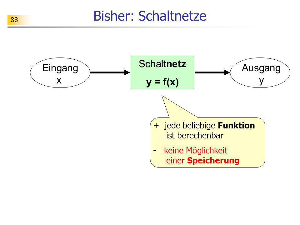Bisher: Schaltnetze Schaltnetz y = f(x) Eingang x Ausgang y + jede beliebige Funktion ist berechenbar - keine Möglichkeit einer Speicherung 88