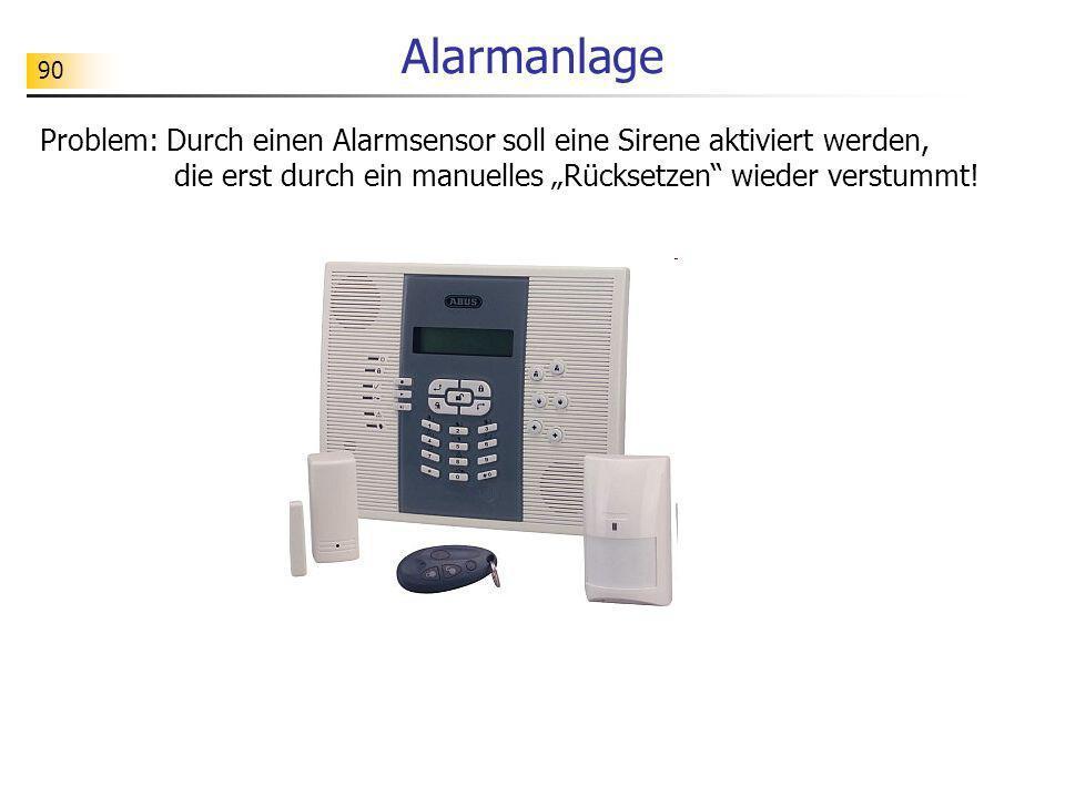 90 Alarmanlage Problem: Durch einen Alarmsensor soll eine Sirene aktiviert werden, die erst durch ein manuelles Rücksetzen wieder verstummt!