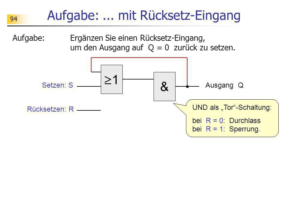 Aufgabe:... mit Rücksetz-Eingang Aufgabe:Ergänzen Sie einen Rücksetz-Eingang, um den Ausgang auf Q = 0 zurück zu setzen. 1 Ausgang Q & Setzen: S Rücks