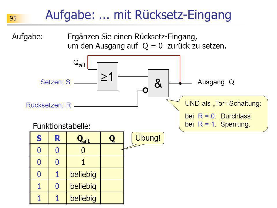 Aufgabe:... mit Rücksetz-Eingang Aufgabe:Ergänzen Sie einen Rücksetz-Eingang, um den Ausgang auf Q = 0 zurück zu setzen. 1 Setzen: SAusgang Q & Rückse