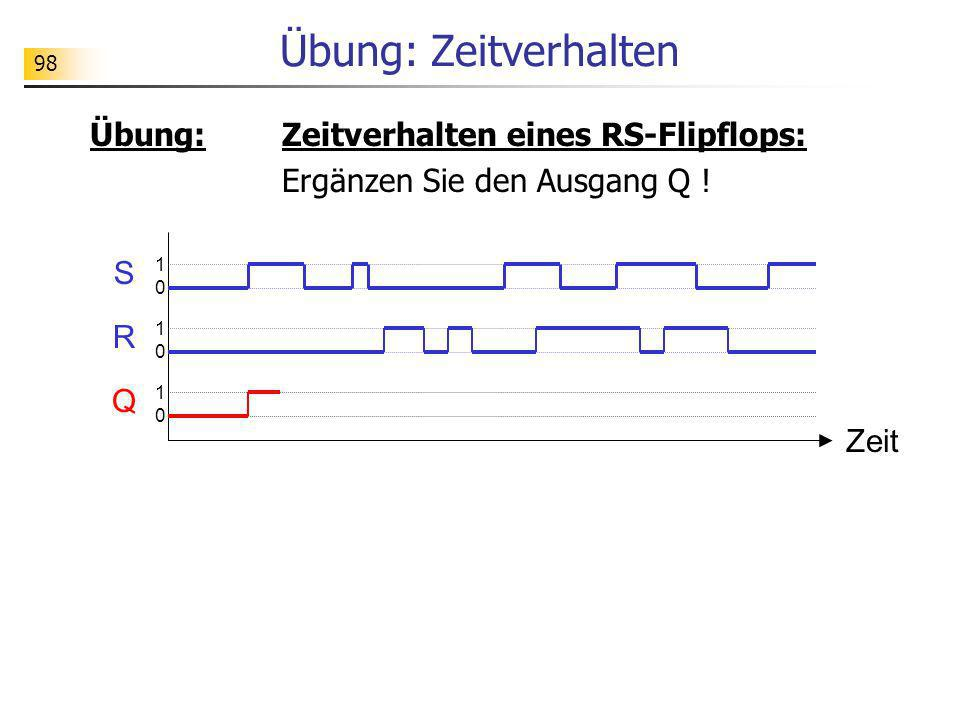 Übung: Zeitverhalten eines RS-Flipflops: Ergänzen Sie den Ausgang Q ! Übung: Zeitverhalten Zeit S R Q 1010 1010 1010 98