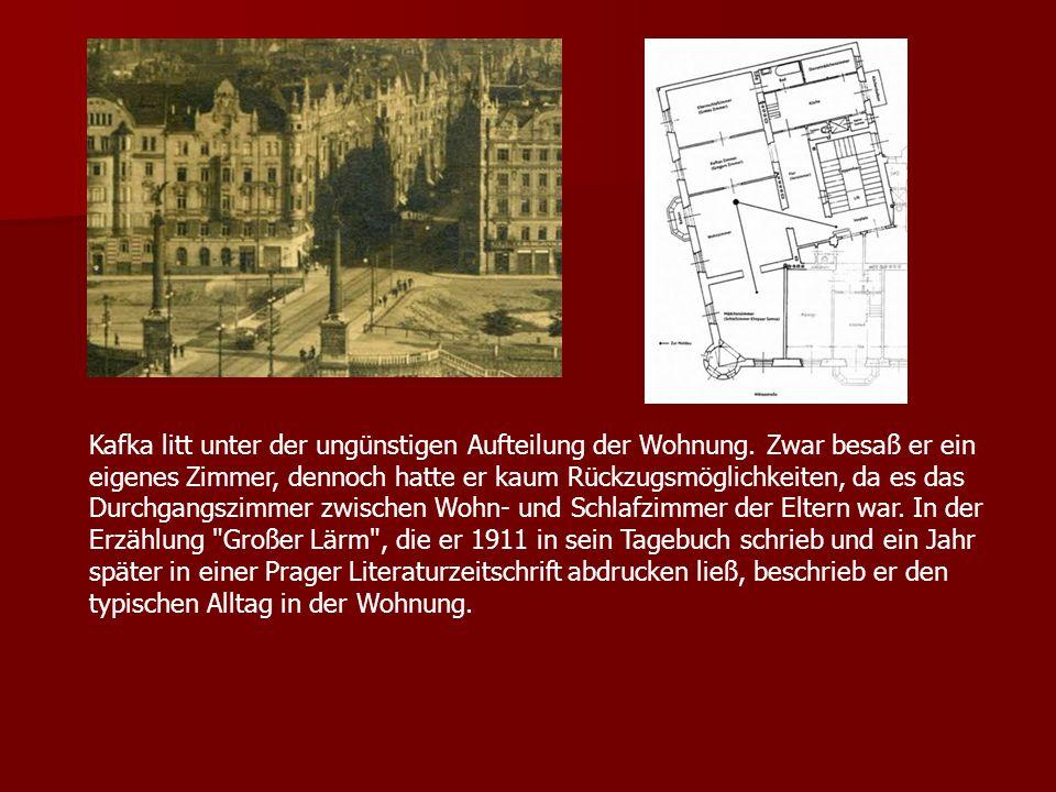 Kafka litt unter der ungünstigen Aufteilung der Wohnung. Zwar besaß er ein eigenes Zimmer, dennoch hatte er kaum Rückzugsmöglichkeiten, da es das Durc