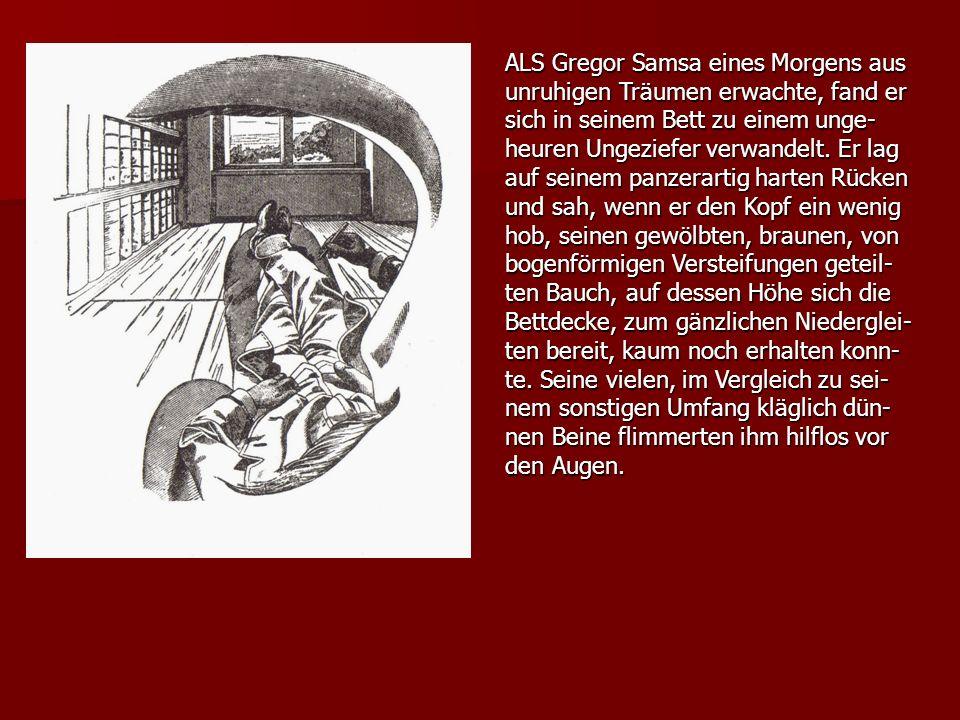 ALS Gregor Samsa eines Morgens aus unruhigen Träumen erwachte, fand er sich in seinem Bett zu einem unge- heuren Ungeziefer verwandelt. Er lag auf sei