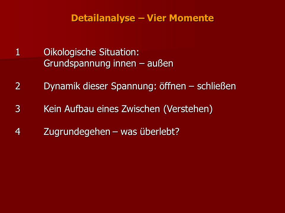 Detailanalyse – Vier Momente 1Oikologische Situation: Grundspannung innen – außen 2Dynamik dieser Spannung: öffnen – schließen 3Kein Aufbau eines Zwis