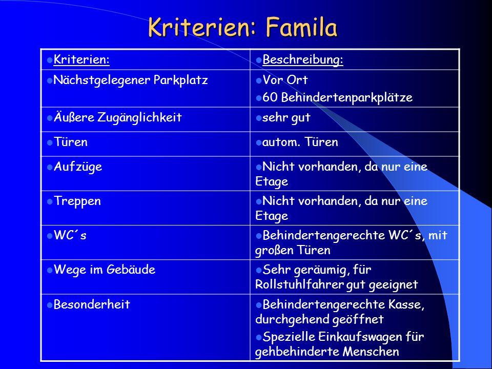 Kriterien: Famila Kriterien: Beschreibung: Nächstgelegener Parkplatz Vor Ort 60 Behindertenparkplätze Äußere Zugänglichkeit sehr gut Türen autom. Türe