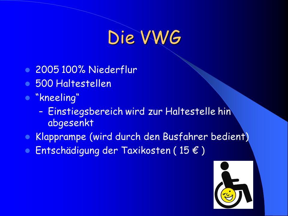 Die VWG 2005 100% Niederflur 500 Haltestellen kneeling – Einstiegsbereich wird zur Haltestelle hin abgesenkt Klapprampe (wird durch den Busfahrer bedi