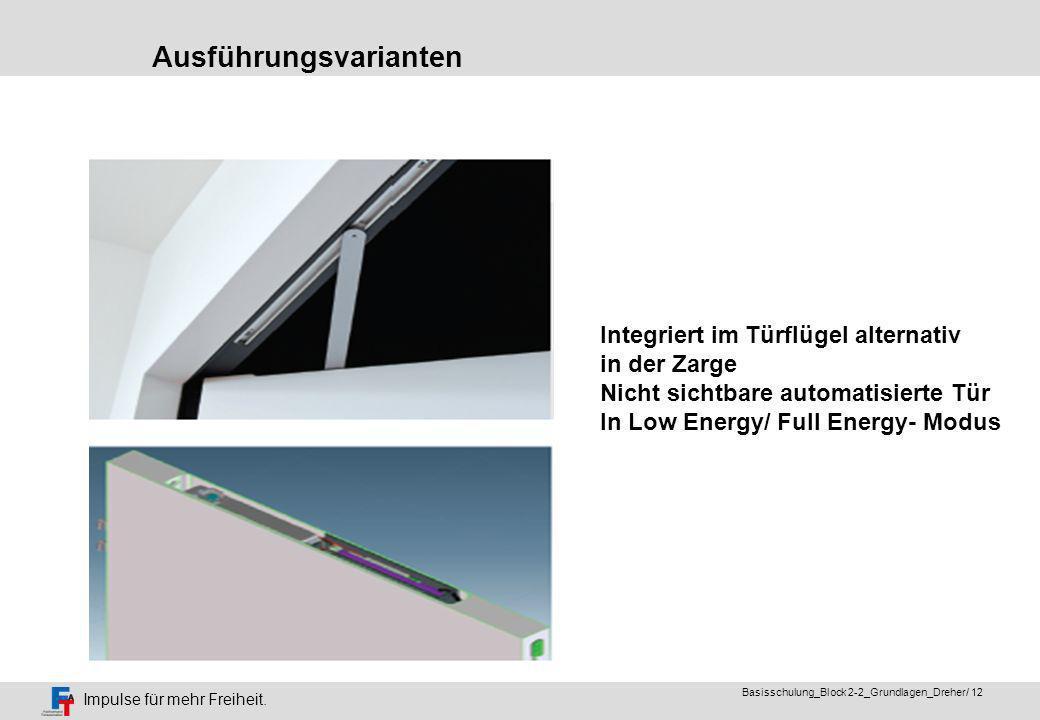 Impulse für mehr Freiheit. Basisschulung_Block 2-2_Grundlagen_Dreher/ 11 Als barrierefreie Tür in Low Energy Ausführung Ausführungsvarianten