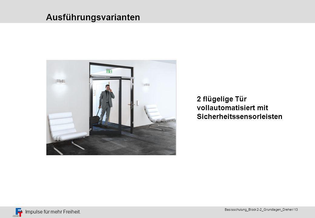 Impulse für mehr Freiheit. Basisschulung_Block 2-2_Grundlagen_Dreher/ 12 Integriert im Türflügel alternativ in der Zarge Nicht sichtbare automatisiert