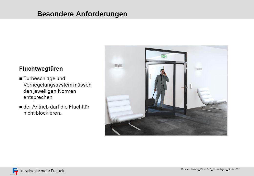 Impulse für mehr Freiheit. Basisschulung_Block 2-2_Grundlagen_Dreher/ 22 Besondere Anforderungen Türen im Brandschutz als Feststellanlage Sturzmelder