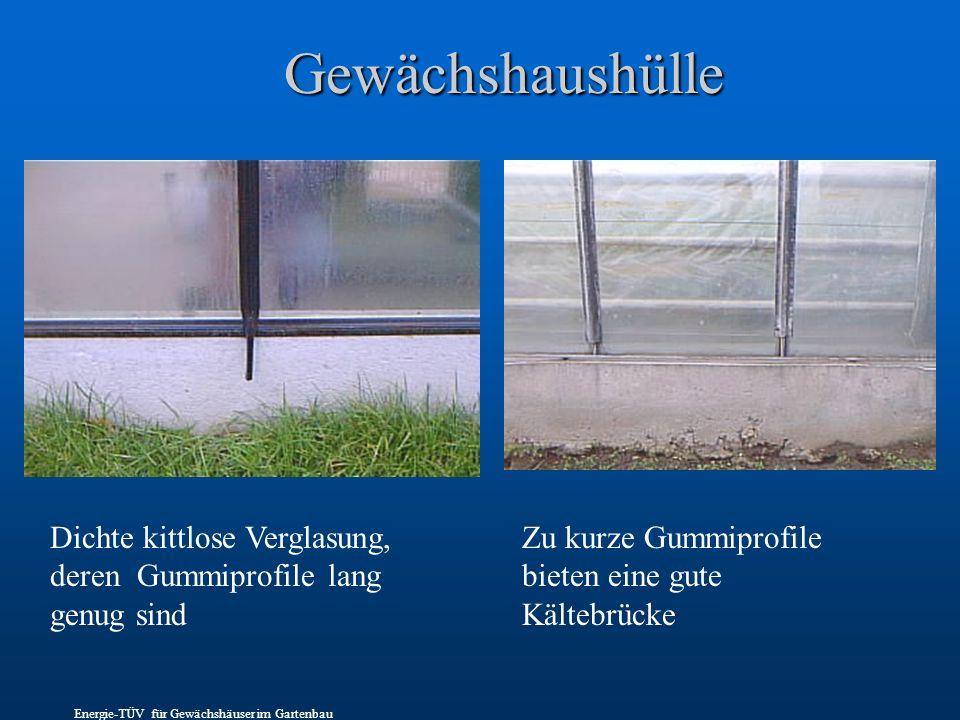 Gewächshaushülle Dichte kittlose Verglasung, deren Gummiprofile lang genug sind Zu kurze Gummiprofile bieten eine gute Kältebrücke Energie-TÜV für Gewächshäuser im Gartenbau