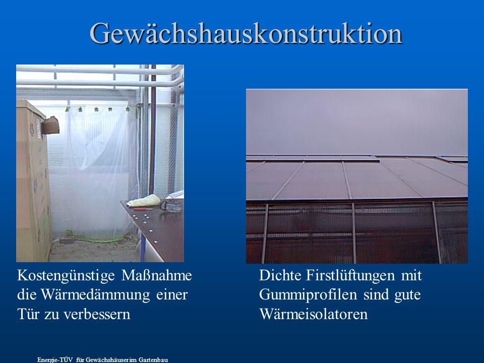 Gewächshauskonstruktion Kostengünstige Maßnahme die Wärmedämmung einer Tür zu verbessern Dichte Firstlüftungen mit Gummiprofilen sind gute Wärmeisolatoren Energie-TÜV für Gewächshäuser im Gartenbau