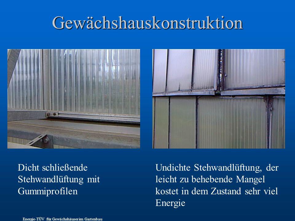 Gewächshauskonstruktion Dicht schließende Stehwandlüftung mit Gummiprofilen Undichte Stehwandlüftung, der leicht zu behebende Mangel kostet in dem Zustand sehr viel Energie Energie-TÜV für Gewächshäuser im Gartenbau