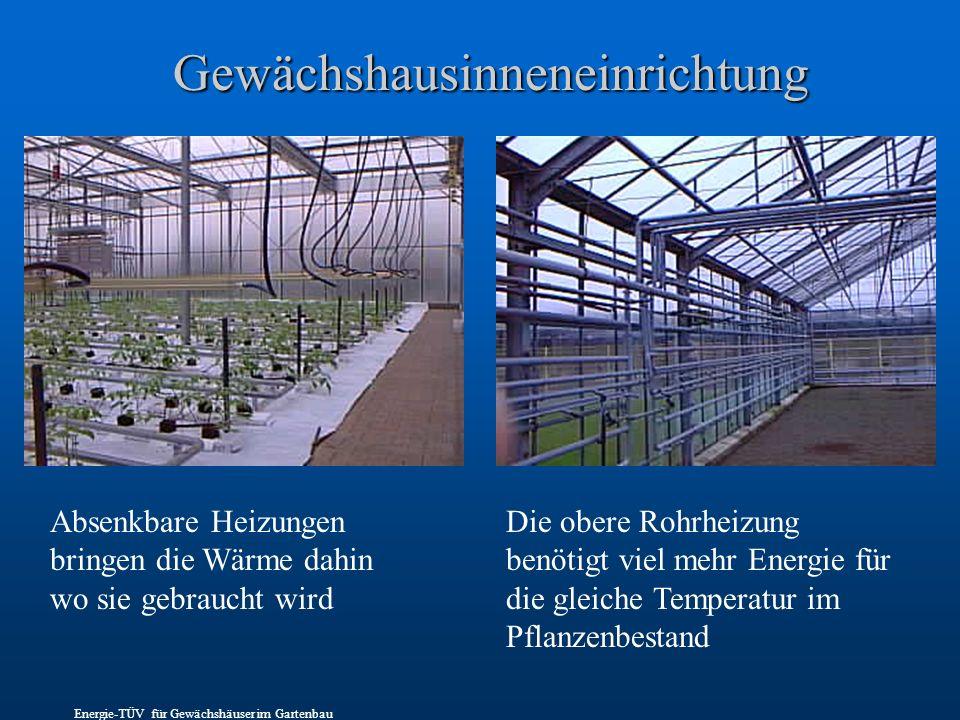Gewächshausinneneinrichtung Absenkbare Heizungen bringen die Wärme dahin wo sie gebraucht wird Die obere Rohrheizung benötigt viel mehr Energie für die gleiche Temperatur im Pflanzenbestand Energie-TÜV für Gewächshäuser im Gartenbau