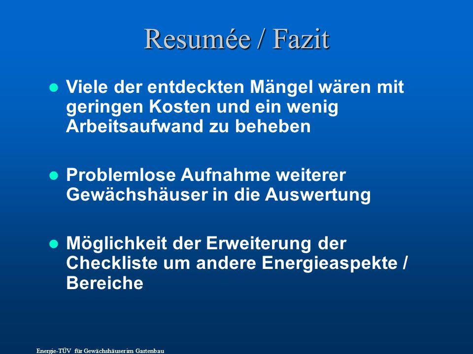 Resumée / Fazit Viele der entdeckten Mängel wären mit geringen Kosten und ein wenig Arbeitsaufwand zu beheben Problemlose Aufnahme weiterer Gewächshäu