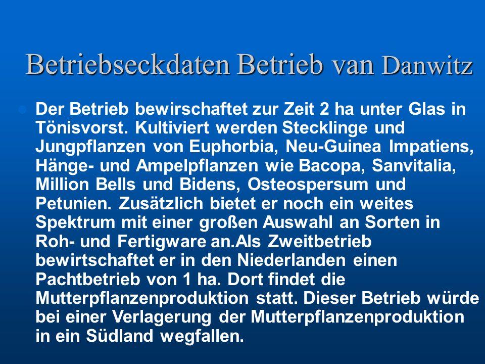 Betriebseckdaten Betrieb van Danwitz Der Betrieb bewirschaftet zur Zeit 2 ha unter Glas in Tönisvorst. Kultiviert werden Stecklinge und Jungpflanzen v