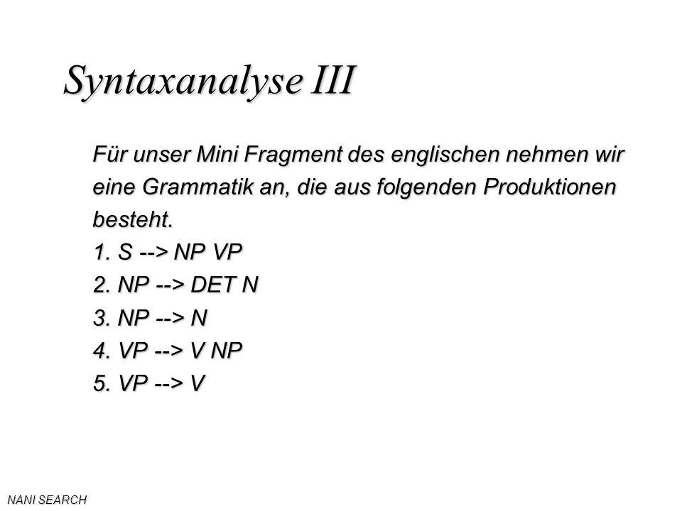 NANI SEARCH Syntaxanalyse III Für unser Mini Fragment des englischen nehmen wir eine Grammatik an, die aus folgenden Produktionen besteht.
