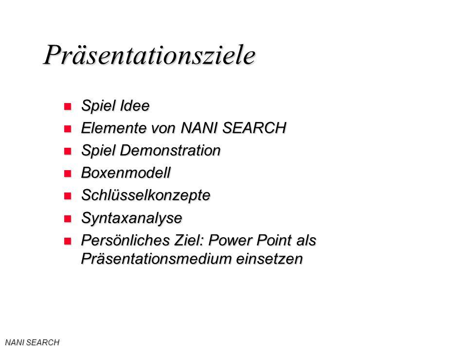 NANI SEARCH Präsentationsziele n Spiel Idee n Elemente von NANI SEARCH n Spiel Demonstration n Boxenmodell n Schlüsselkonzepte n Syntaxanalyse n Persönliches Ziel: Power Point als Präsentationsmedium einsetzen