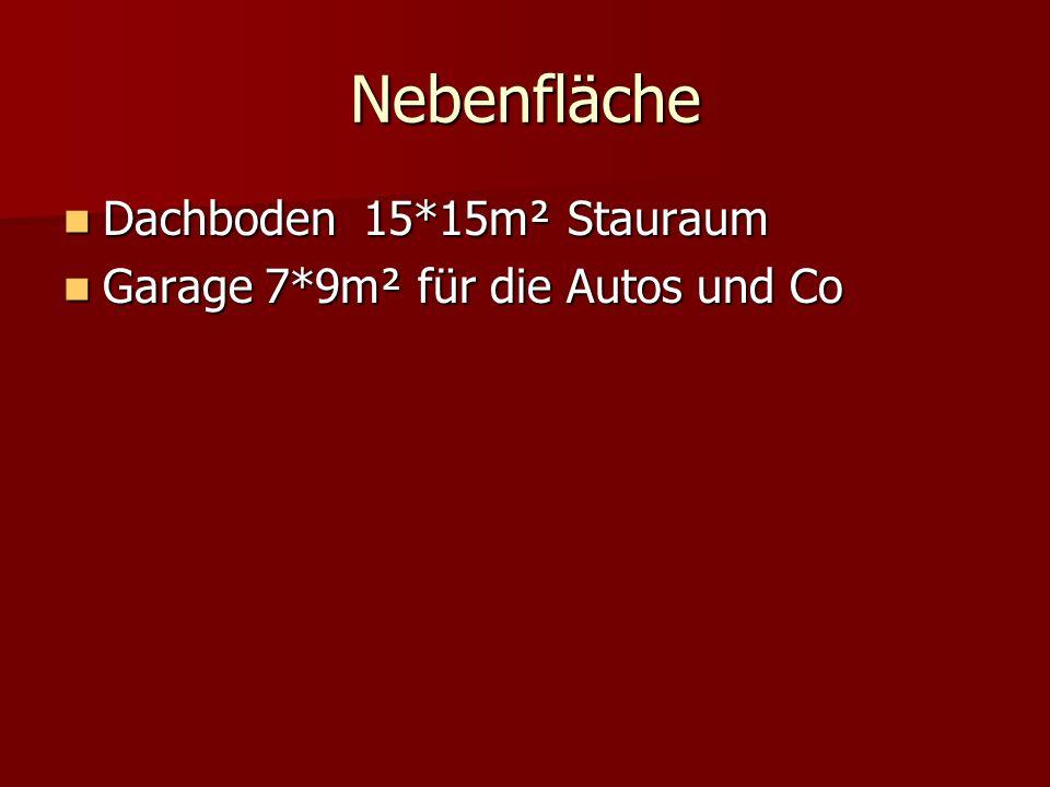 Nebenfläche Dachboden 15*15m² Stauraum Dachboden 15*15m² Stauraum Garage 7*9m² für die Autos und Co Garage 7*9m² für die Autos und Co